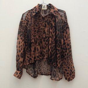 UNIF Sheer Cutout Leopard Print Blouse XS Button
